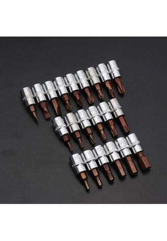 1/4 Inch Drive Sockets Set S2 Alloy Metric Screwdriver Bit Sockets Hex/Slotted/Phillips/Torx/Pozi